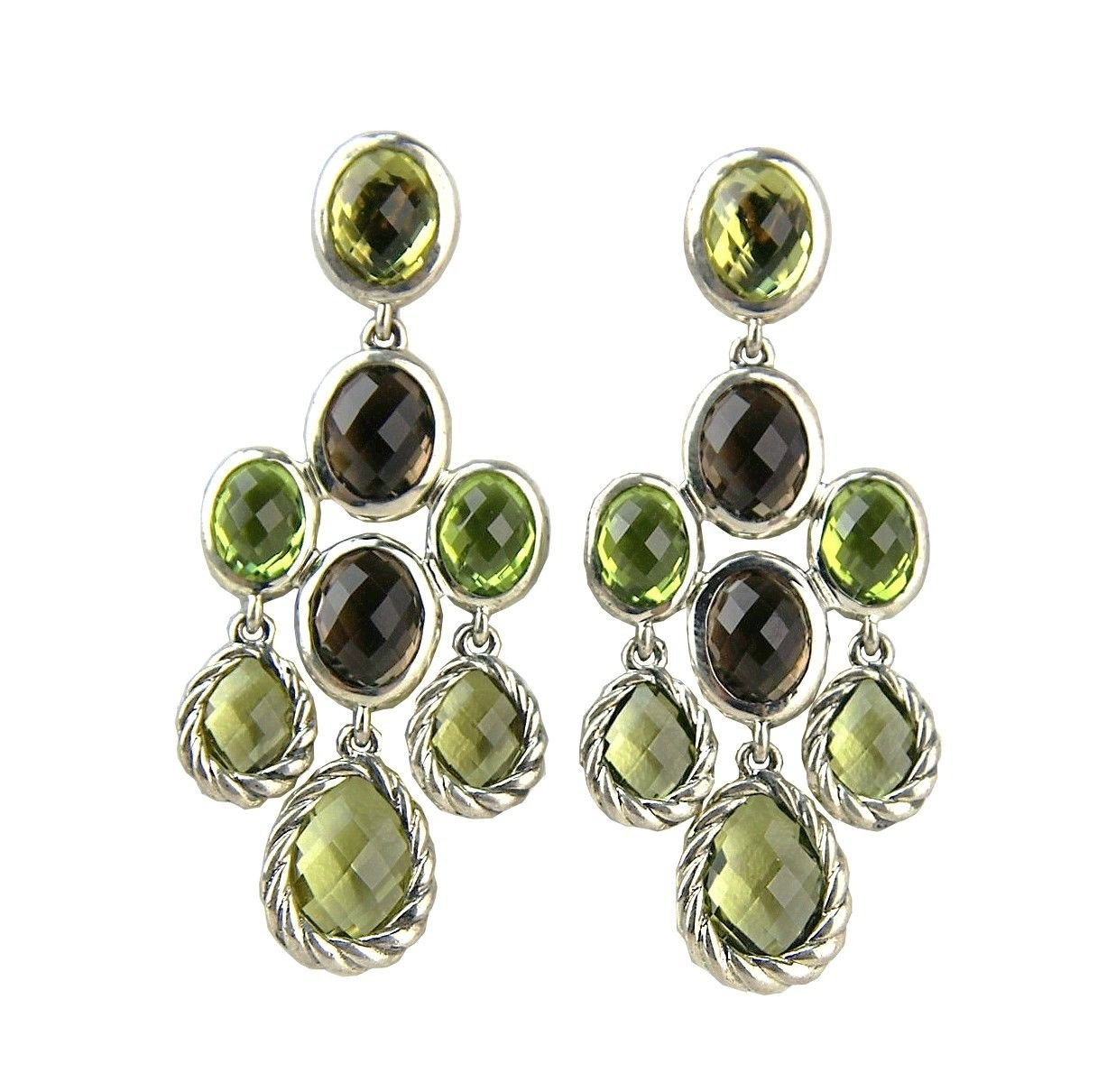 DAVID YURMAN STERLING SILVER CHANDALIER DANGLING PERIDOT EARRINGS NEW BOX # 14E