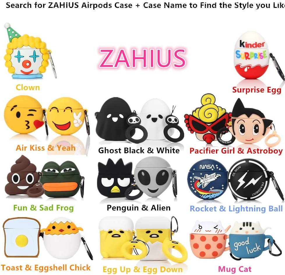 Cartoon Series Mickey Face ZAHIUS Airpods Silicone Case Cool Cover Compatible for Apple Airpods 1/&2 Designed for Kids Girl and Boys