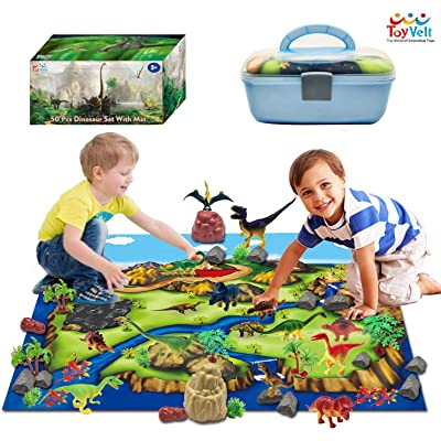 ToyVelt Dinosaur Play Set Dinosaur Toys Includes Dinosaur Figures, Trees, Rocks, PlayMat, And A Beautiful Container Create a Dino World Great Gift for Boys & Girls Ages 3,4,5,6, and Up: Toys & Games