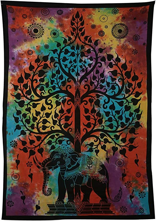 """Genuine Indian Wall Hanging Tapestry Bed Sheet psychedelic Elephant Tie Dye 84/"""""""