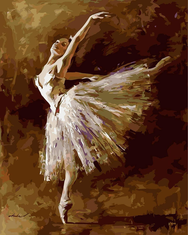 Diy Hecho Ballet A Mano Pintura Digital Ballet Hecho Bailarina Sala De Estar Dormitorio Art Deco Pintura De Pared Foto Regalo De Vacaciones Marco Opcional 40X50 CM f1efe7