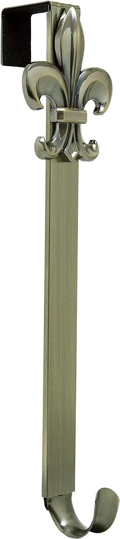 Adjustable Length Wreath Hanger with Removable Icon (Antique Brass - Fleur De Lis)