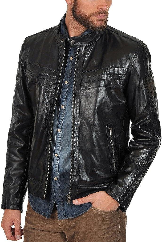 Leather Kraft Mens Lambskin Leather Bomber Biker Leather Jacket