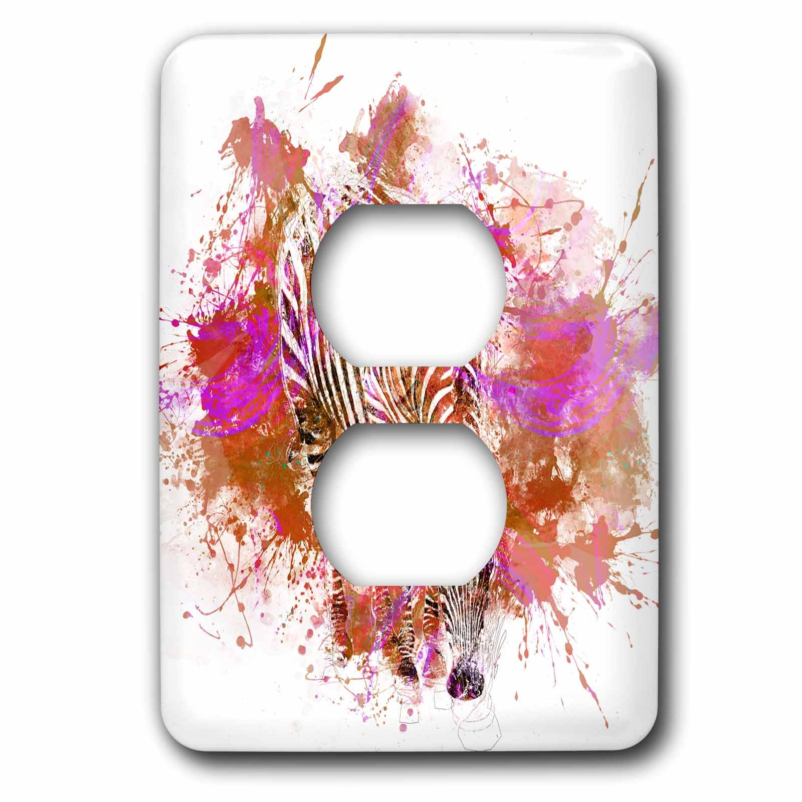 3dRose Andrea Haase Animals Illustration - Modern cool colorful zebra artwork with paint splatter in pink and orange - Light Switch Covers - 2 plug outlet cover (lsp_266497_6)