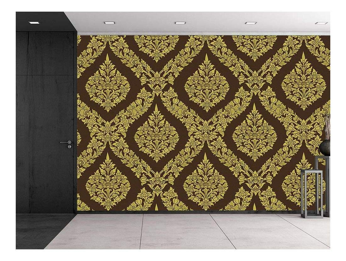 wall26 Thai Flower Pattern in a Traditional Style - Temple Tapestry - Gold and Brown - Classic Exquisite Design - Wall Mural, Removable Sticker, Home Decor - 66x96 inches