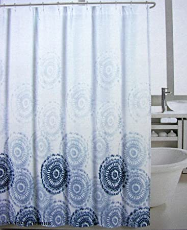 Max Studio Fabric Shower Curtain Blue Medallions Parasol Ombre
