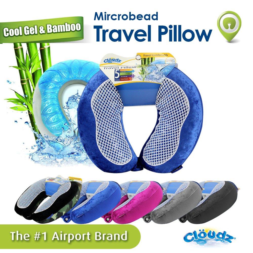 Cloudz Cool Gel & Bamboo Microbead Travel Pillow - Blue