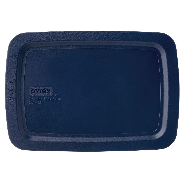 Pyrex Easy Grab 2-qt Oblong Storage Plastic Lid, Blue