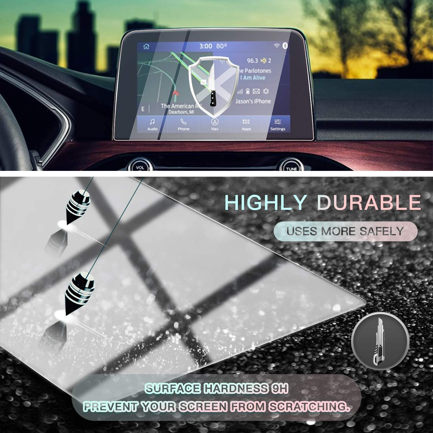 Tempered Glass HD Scratch Resistance Center Touch Protective Film CDEFG Glass Screen Protector for 2020 Escape 8 Inch Navigation Touch Screen Protector