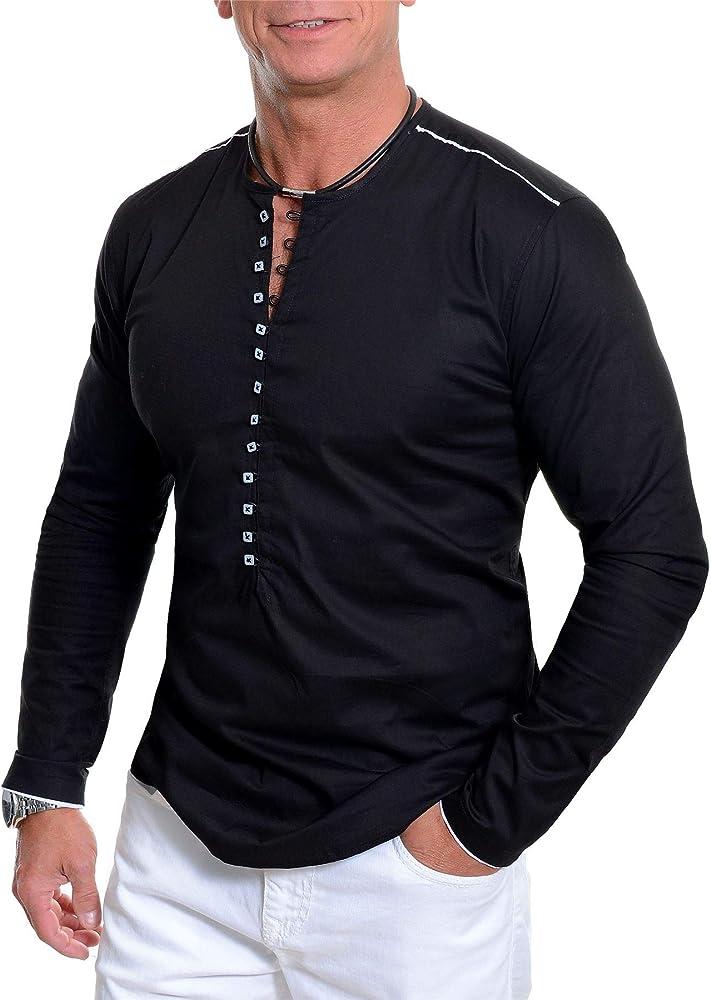 Camisa sin Cuello de los Hombres Cuello Redondo Manga Larga bucles de Botones: Amazon.es: Ropa y accesorios