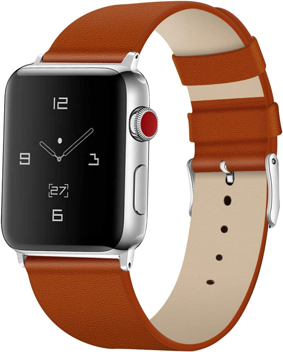 Tohsssik Leather Bands for Apple Watch Band 42mm 44mm Men & Women Sport Genuine Leather Strap Replacement Band Compatible for iWatch Series 5 4 3 2 1, Light Brown