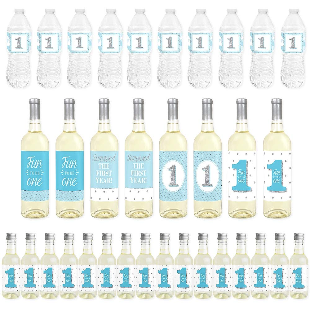 Big Dot of Happiness 1st Birthday Boy - Fun to be One - Mini Wine Bottle Labels, Wine Bottle Labels and Water Bottle Labels - First Birthday Party Decorations - Beverage Bar Kit - 34 Pieces
