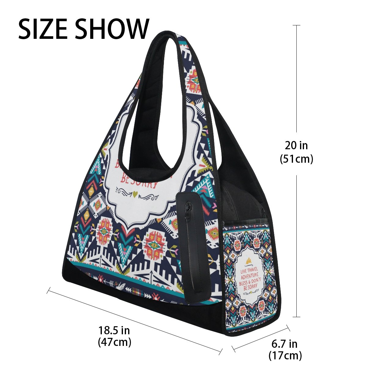 AHOMY Canvas Sports Gym Bag Africa Art Paisley Travel Shoulder Bag