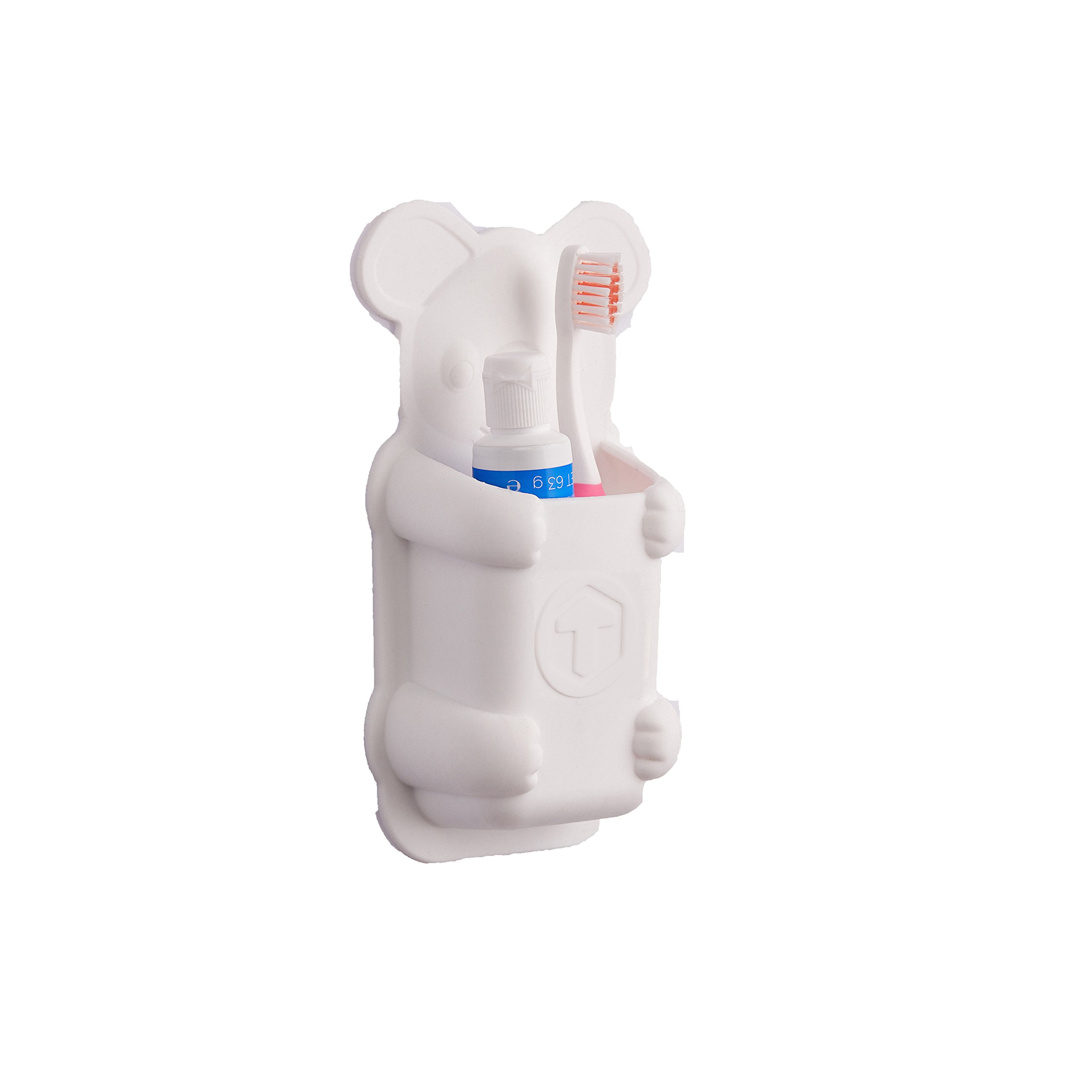 Kids Toothbrush Holder - koala animal shaped silicone toothbrush holder, waterproof, no suction cups, clings to shiny surfaces (white)