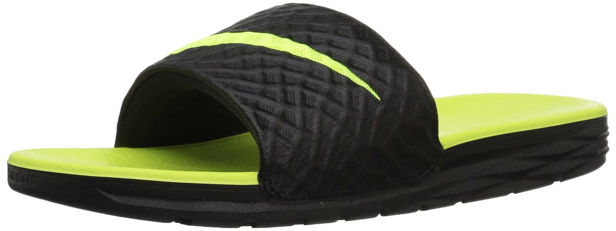 Nike Men's Benassi Solarsoft Slide Athletic Sandal, Black/Volt, 5 D(M) US