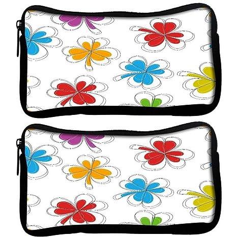 Snoogg Pack De 2 Abstracto Verano Fondo tela estudiante pluma lápiz caso bolsa de cosméticos bolsa