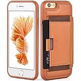 ZVE iPhone6s ケース iphone6ケース 4.7インチ 本革ケース 耐衝撃 カード収納 スタンド機能(ブラウン)