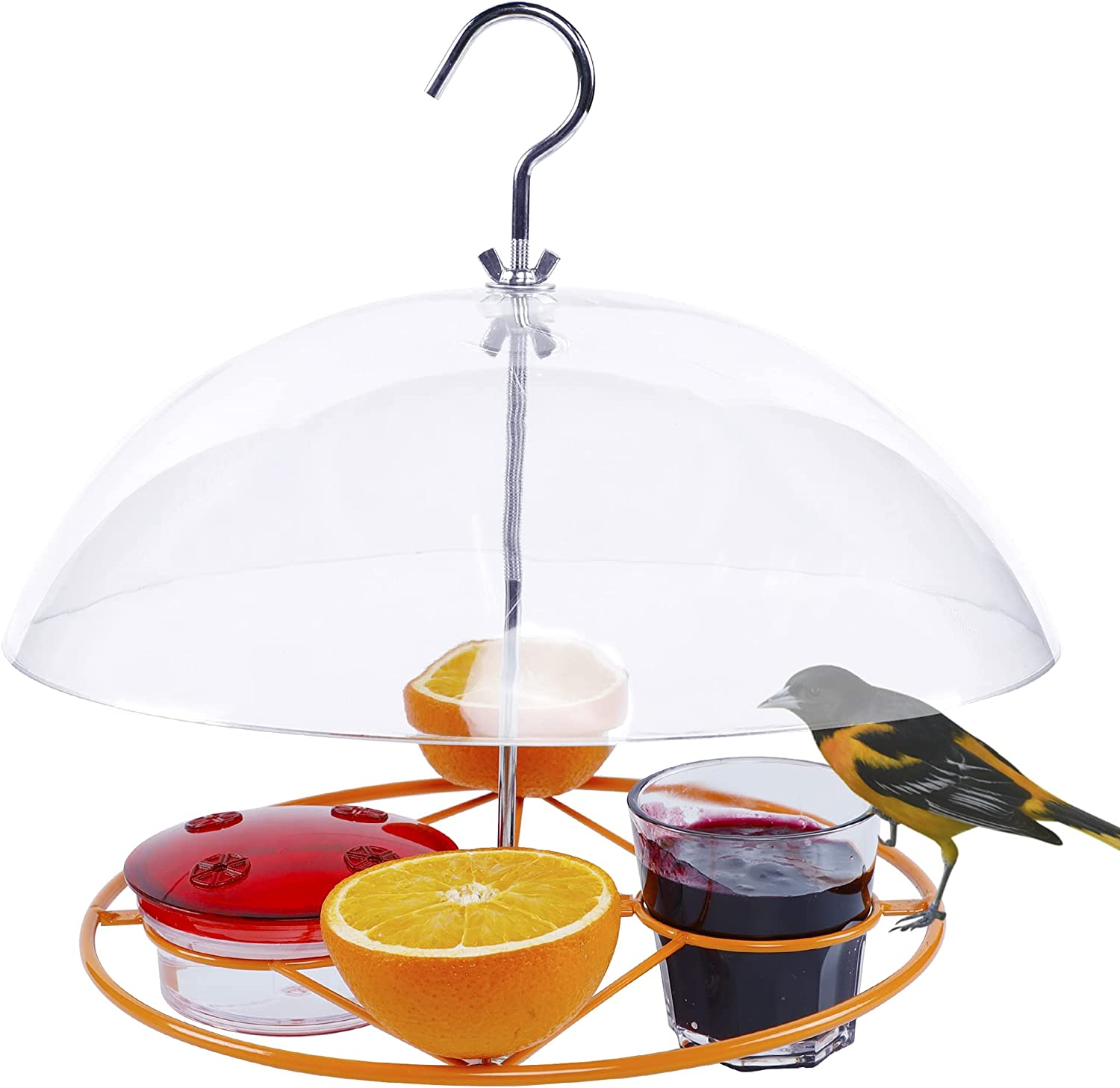 Twinkle Star Oriole Bird Feeder, 3 Types Food, Orange Halves Fruit, Drinking Nectar and Grape Jelly Hummingbird Feeders, Outdoor Metal Hanging Adjustable Dome Proof Squirrel and Larger Birds Baffle