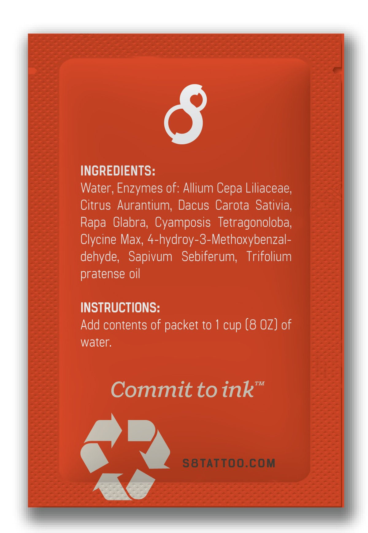 S8 Red Tattoo Needle Cleaner 50x Single Packs