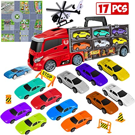 LOYO Car Carrier Truck Toy - Transport Trucks for Boys Age 2, 3, 4, 5, 6, 7, Kids Toy Cars Set 13 in 1 with Map Educational Play Birthday Gift for Boys, Kids, Toddlers