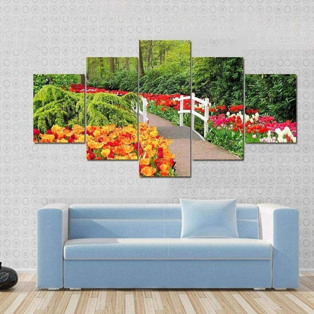 JJJKK Canvas Wall Art Walkway Through Spring Flowers at keukenhof Gardens Netherlands 5 Pcs Contemporary Picture Prints Image Artwork Painting Picture Photo Home Decoration
