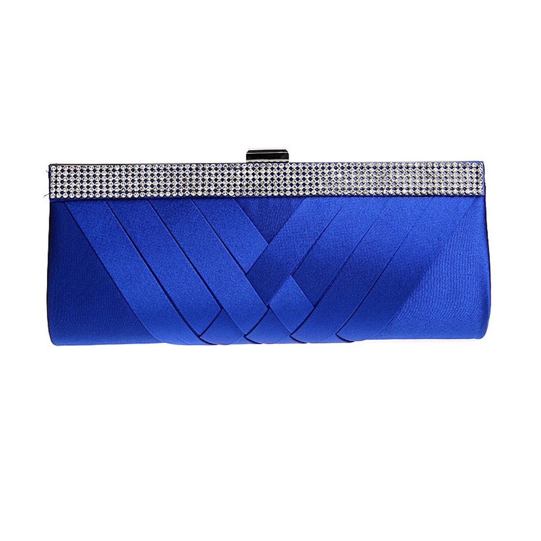Woven Silk Satin Wedding Bridal Clutch Purse Fashion Women's Evening Handbag (Royal Blue)