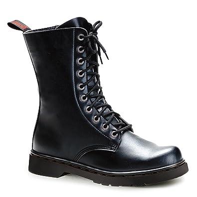 1f06e043d58 Amazon.com | Summitfashions Mens Black Combat Boots Lace Up Vegan ...