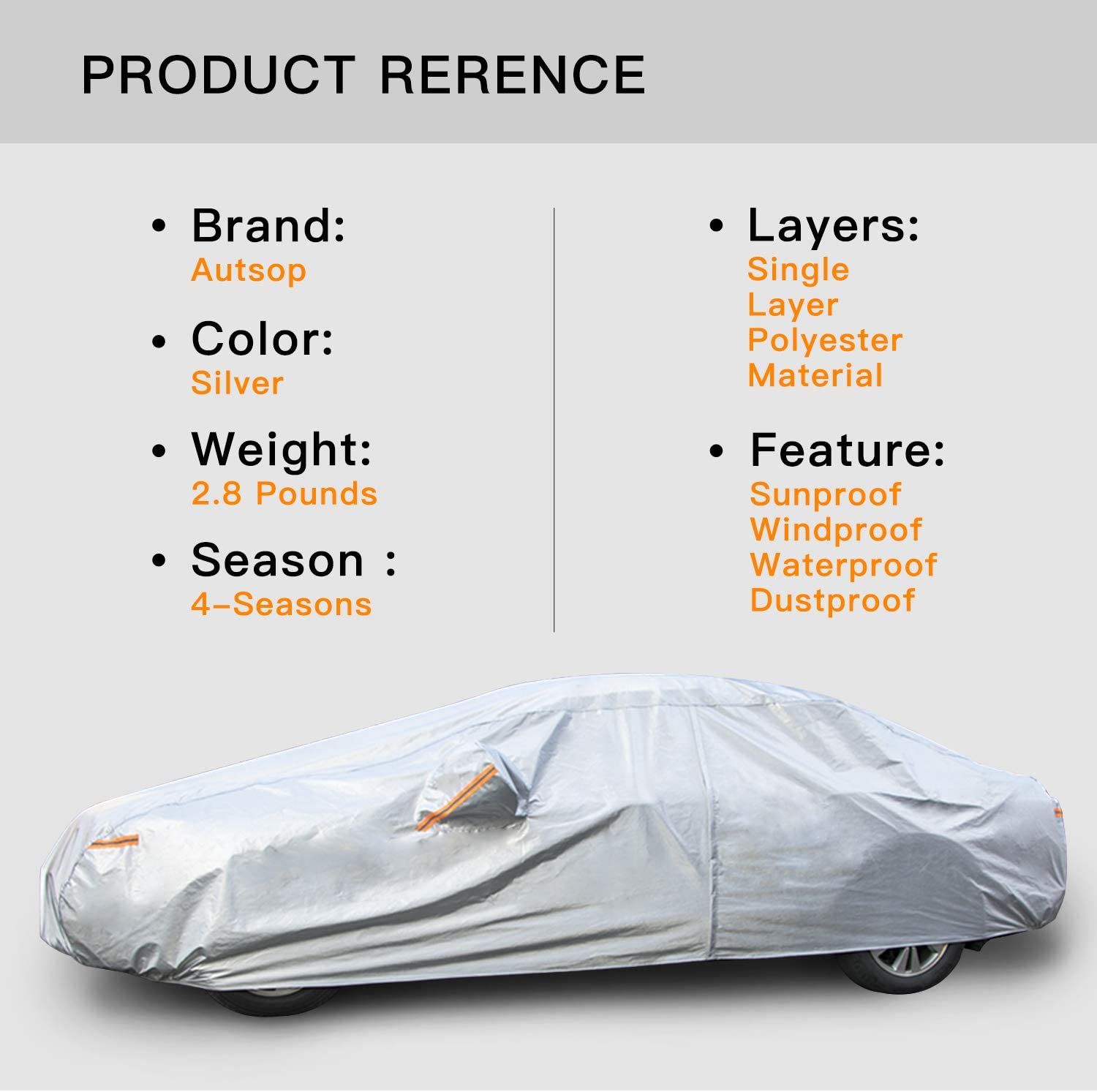 Length 181-190 Inch Universal Fit Sedan Full Covers with Zipper Autsop Car Cover Waterproof All Weather for Automobiles Outdoor Sun Uv Rain Dust Wind Protection