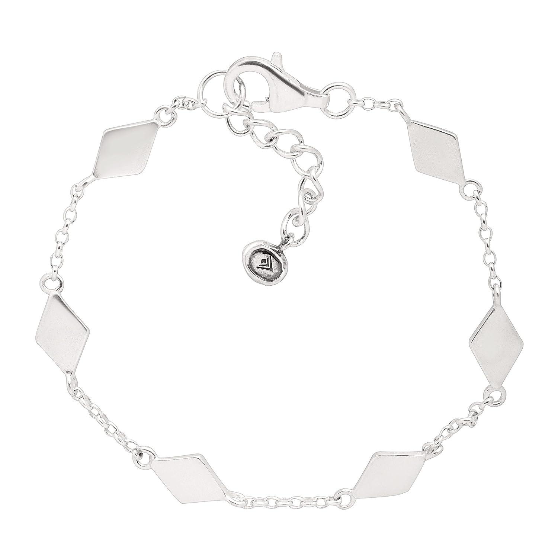 """Silpada 'Dainty Geo' Chain Bracelet in Sterling Silver, 7"""" + 1"""" Extender"""