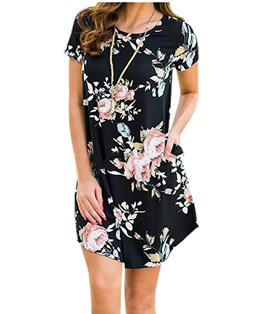 Voky Womens Floral Print Short Sleeve Dress Round Collar Casual