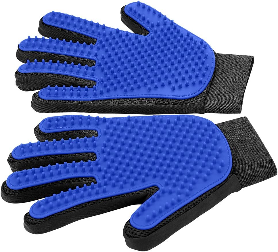 Pet Grooming Glove - Gentle Deshedding Brush Glove - Efficient Pet Hair Remover Mitt - Enhanced Five Finger Design - Perfect for Dog & Cat with Long & Short Fur - 1 Pair (Blue)