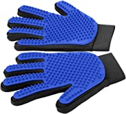[Upgrade Version] Pet Grooming Glove - Gentle Deshedding Brush Glove - Efficient Pet Hair Remover Mitt - Enhanced Five Finger