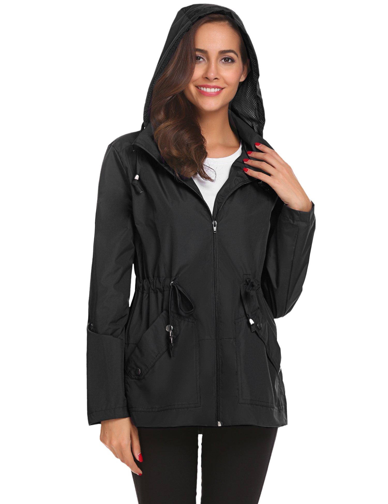 Romanstii Outdoor Jacket Women,Waterproof Raincoat with Hood Active for Camping Hiking 2X by Romanstii (Image #4)