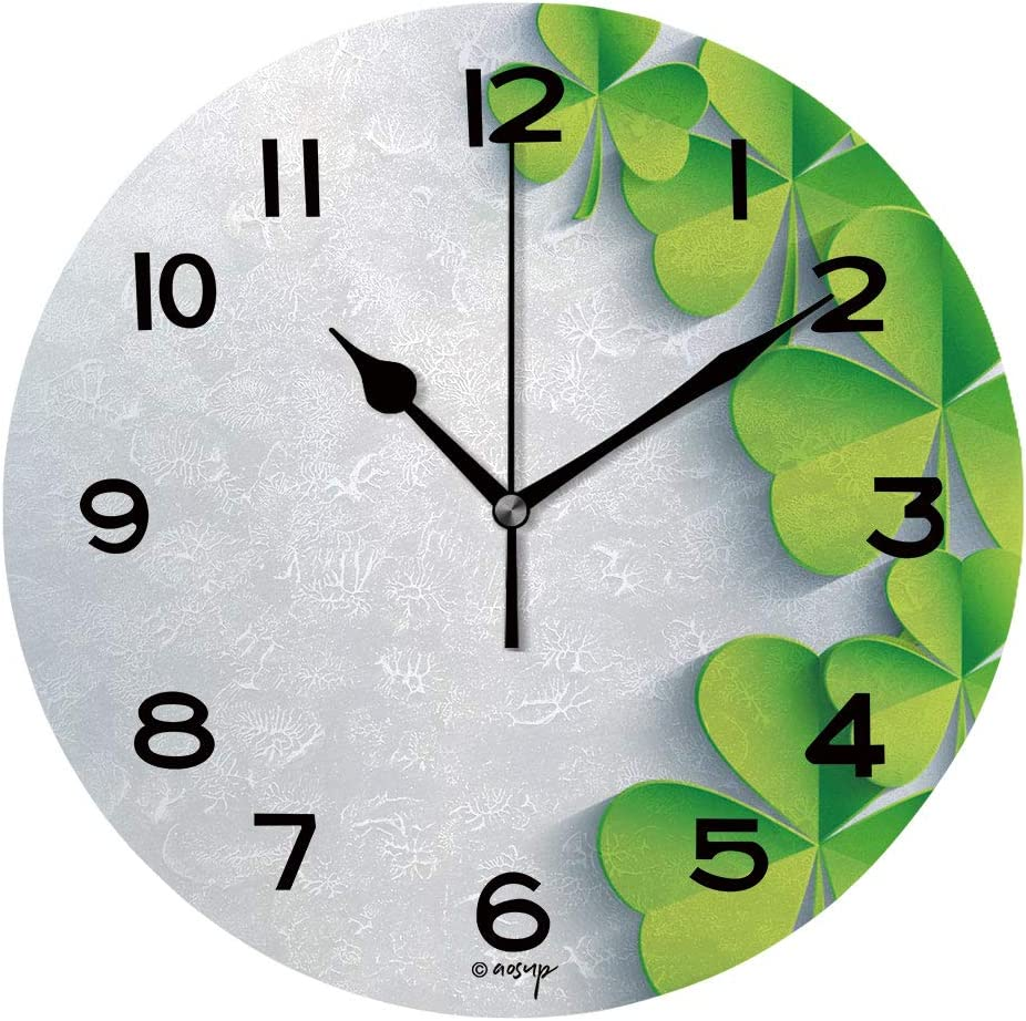 Aluoni Round Wall Clock Abstract St Patricks Day Background With Leaf Clover 10 Inch Morden Wall Clocks Silent Round Decorative Clock Is053652 Home Kitchen