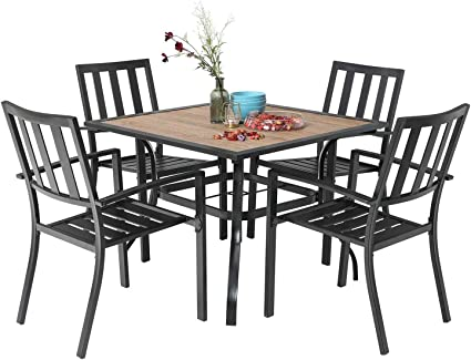MFSTUDIO 5-Piece Outdoor Patio Dinning Set 4 Swivel Chairs and 37 Square Bistro Table with Umbrella Hole Backyard Garden Furniture Sets