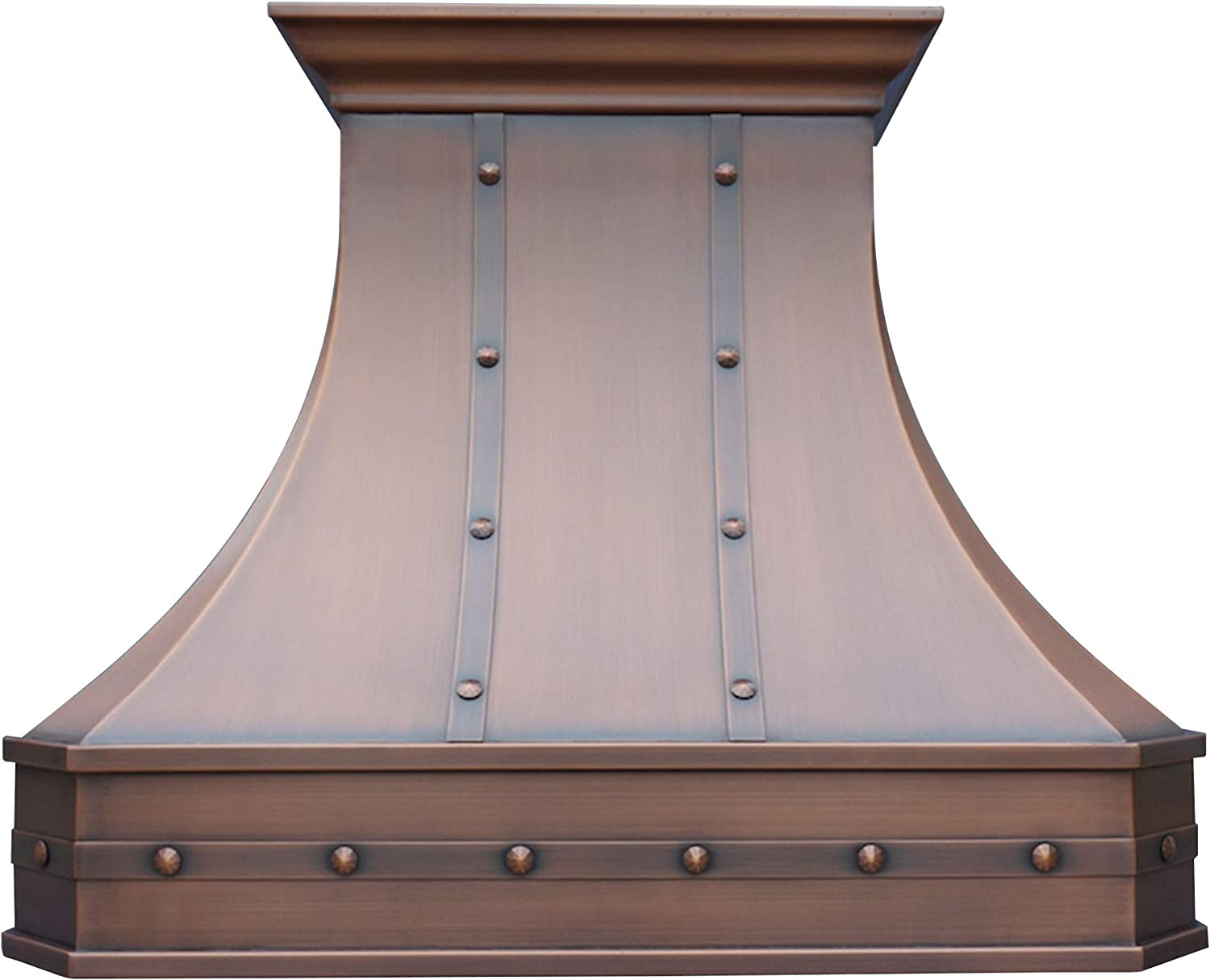 "SINDA Hand-Crafted Copper Kitchen Vent Hood, Stainless Steel Hood Vent, H3STRW3630, 36""Wx30""H, Wall Mount, Smooth Texture-Antique Copper"