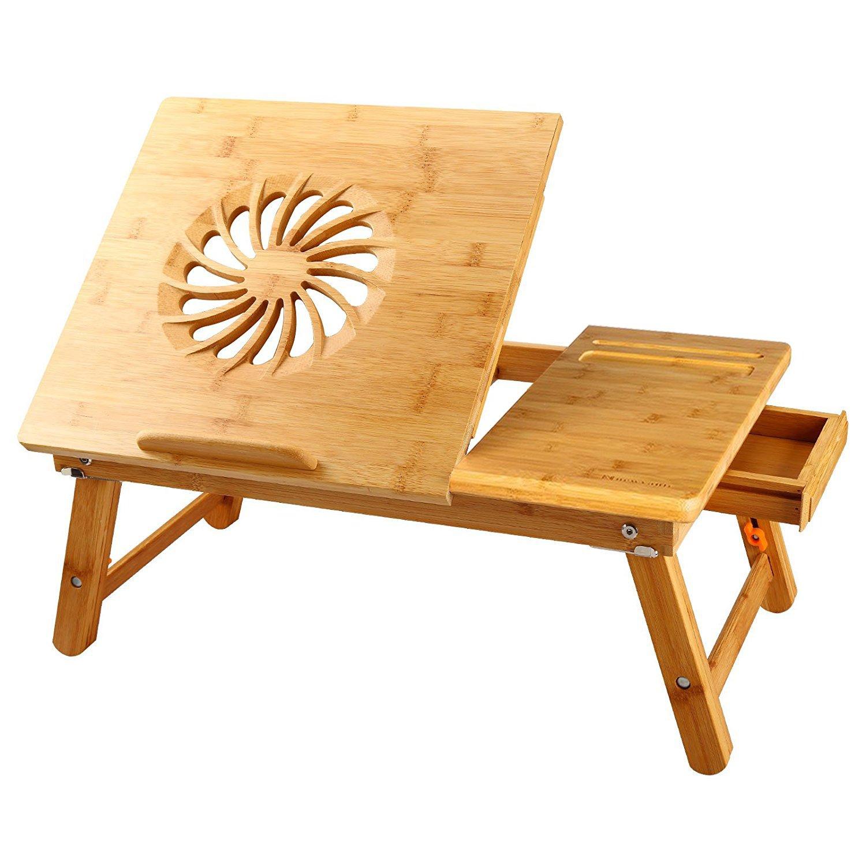 Ordenador Portátil Cama Bandeja NNEWVANTE Mesa Ajustable Bambú Plegable Desayuno Servicio Derecha