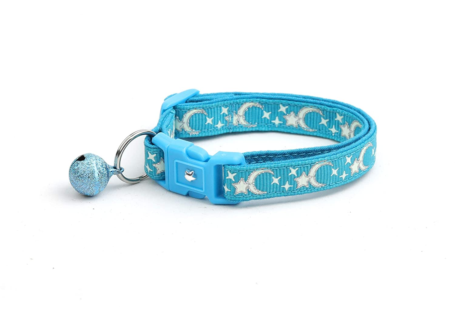 Charm and Bell Breakaway Safety Pugs2Persians Silver Moon and Stars on Turquoise Cat Collar Glow in the Dark