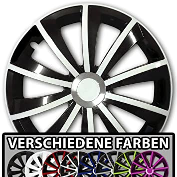 universal passend f/ür Fast alle Fahrzeugtypen Eight Tec Handelsagentur 16 Zoll Radkappen//Radzierblenden Draco Bicolor Aktion Schwarz-Weiss