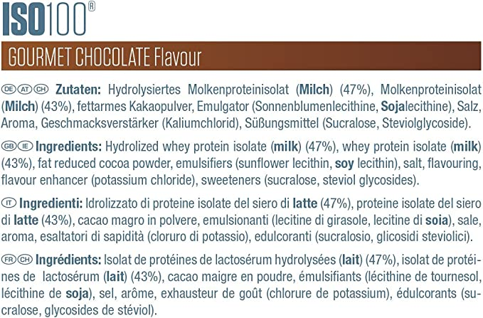 Dymatize ISO 100 Gourmet Chocolate 2,2kg - Hidrolizado de Proteína de Suero Whey + Aislado en Polvo