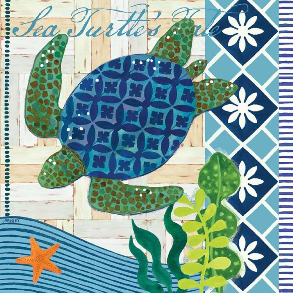 Paperproducts Design Decorative Beverage Paper Napkins – Tabletop Disposable Kitchen Cocktail Napkin – For Lunch, Dinner, Birthdays, Parties, Celebrations – Set of 20, Ruth Levison Sea Turtle Design