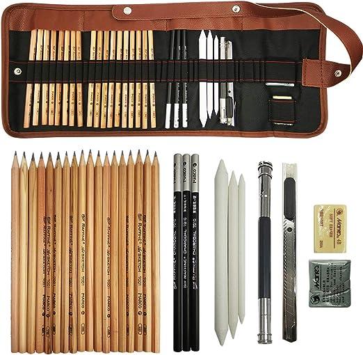 shangjin - Juego de lápices de Dibujo con Estuche Enrollable de Lona y lápiz de Grafito: Amazon.es: Hogar