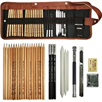 Sketch Drawing Pencil Set, Sketching Kit Canvas Roll up Pencil Case with Graphite Pencils Charcoal Pencils Eraser