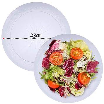 20 Elegante Platos Plástico Duro Desechable, Transparente, 23cm - Lavable & Reutilizable - Vajilla Desechables para Catering Bodas Fiestas Cumpleaños ...