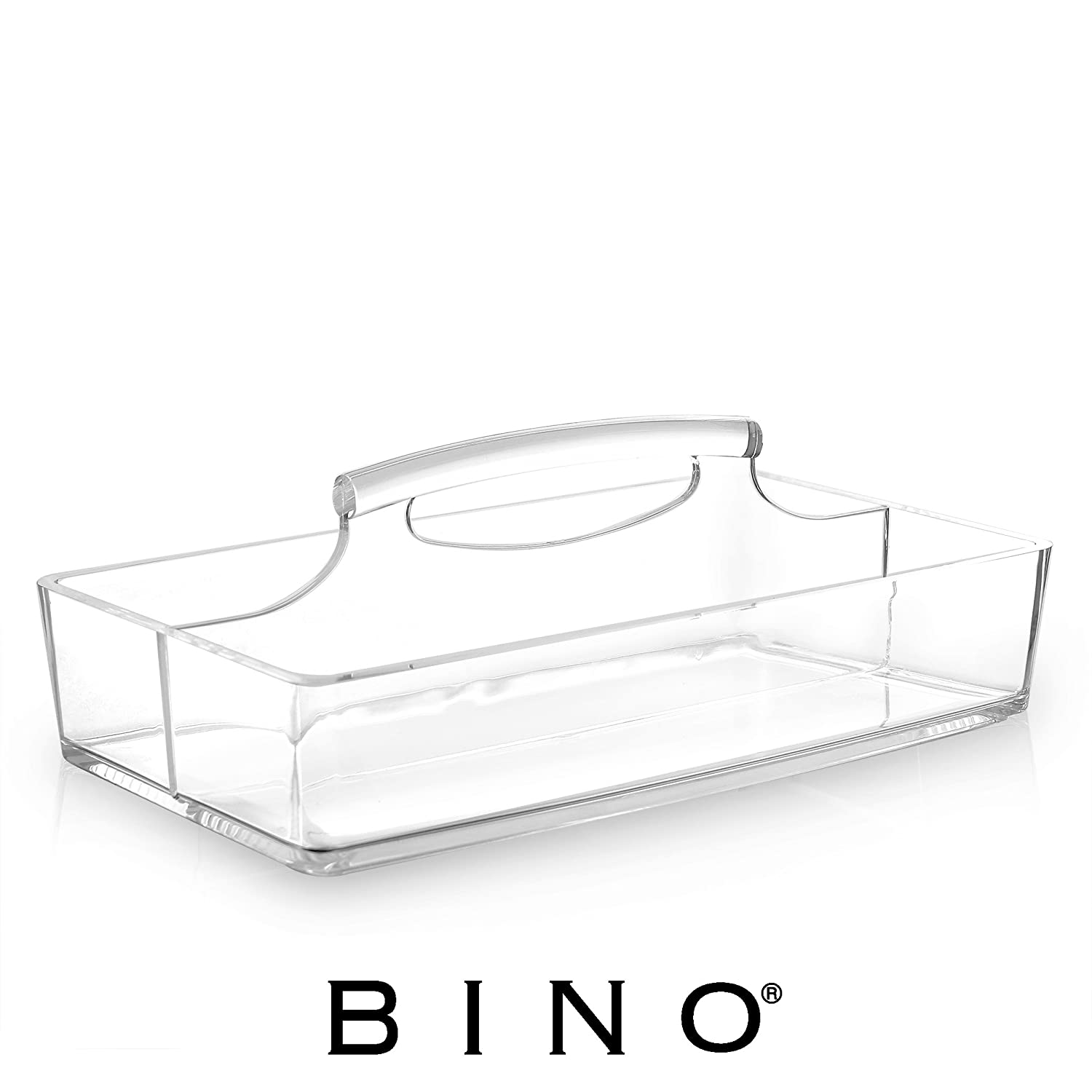 BINO The Go Caddy 2 Compartment Acrylic Makeup and Jewelry Organizer with Carrying Handle