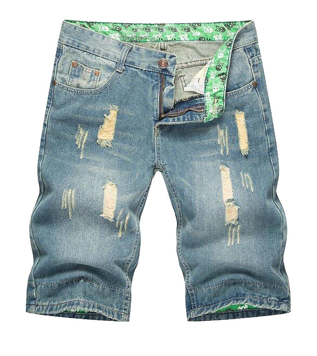 Fensajomon Mens Fashion Ripped Jeans Straight Leg Slim Fit Flat-Front Denim Shorts
