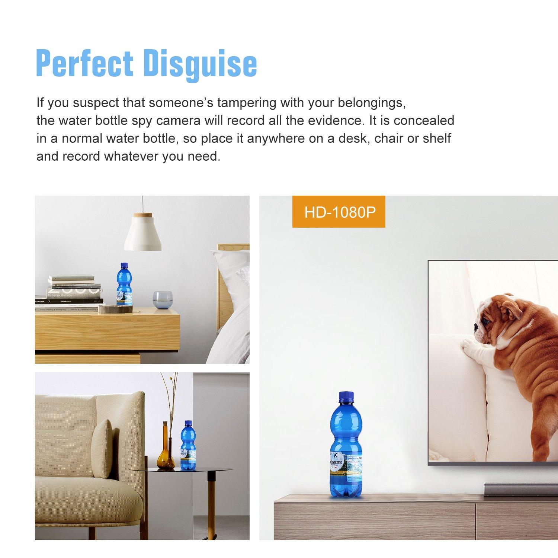 SANNCE 1080P HD Cámara oculta espía botella de agua(grabación de vídeo potable botella de movimiento cámara de seguridad 180mins grabación Soporta tarjeta ...