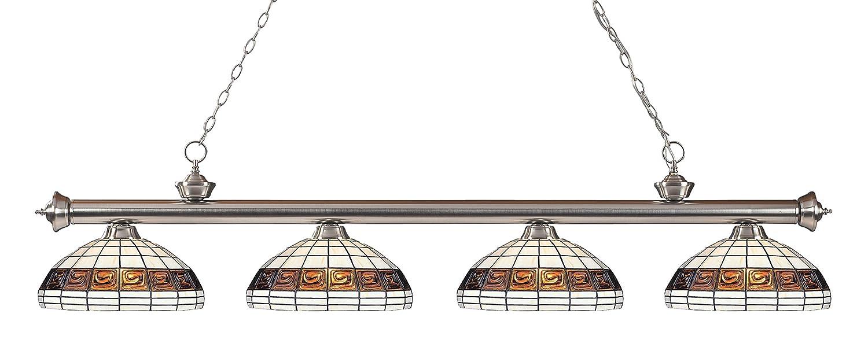 Z-Lite 200-4BN-F14-1- 4 Light Billiard Light Brushed Nickel Steel Glass B00NJX908I