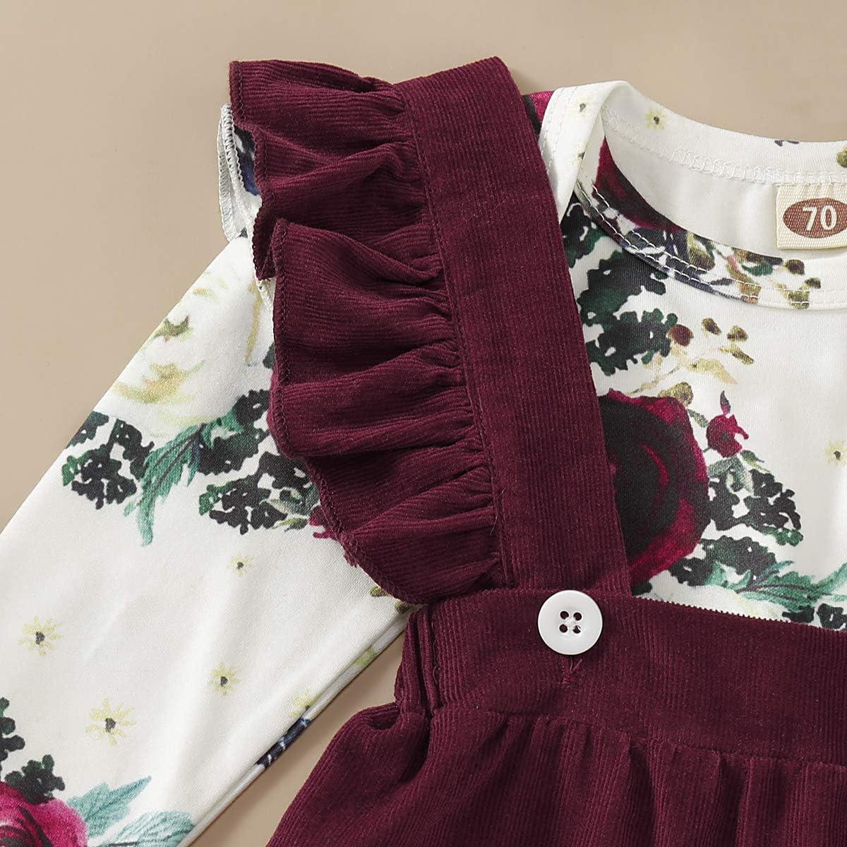 MTSLYH Infant Baby Girl Floral Romper+Velvet Ruffle Suspender Skirt+Headband Outfit Set
