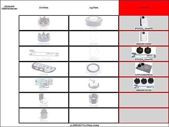 guarnizione UE 1 Chiave 2 x accoppiatori 9704230 per KitchenAid